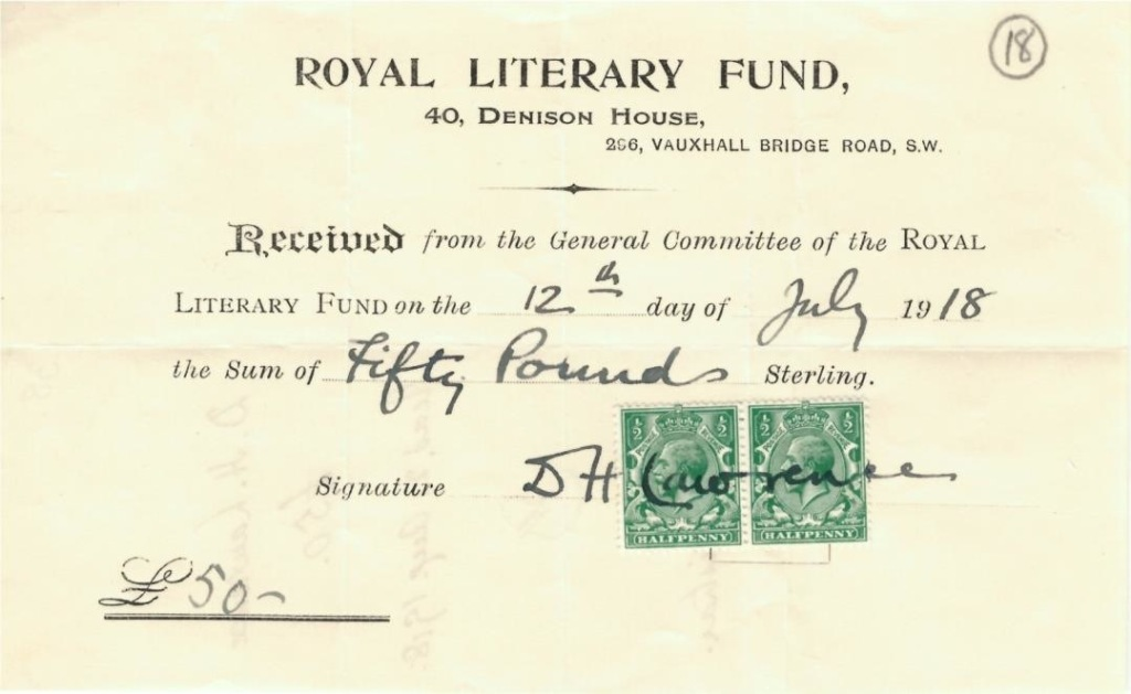 Receipt from DH Lawrence