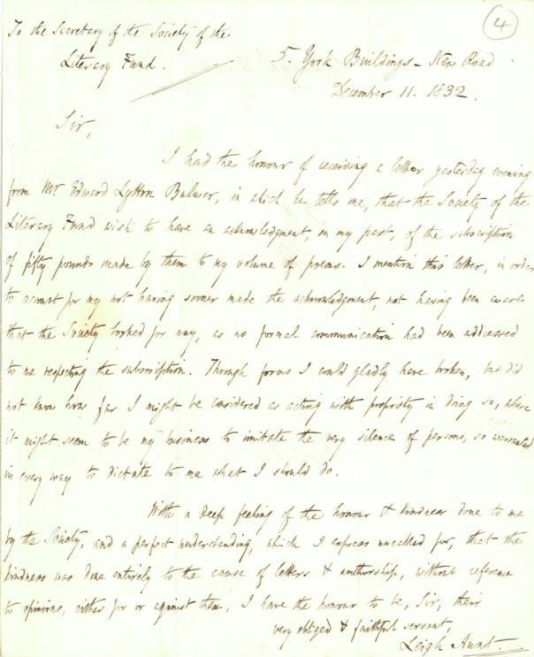 Letter from Leigh Hunt